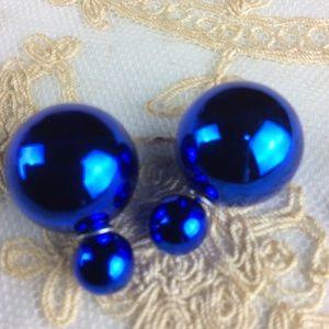 New Blue Metallic Double Ball Stud Earrings